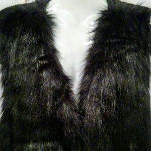 Sebby Collection Black Faux Fur Vest